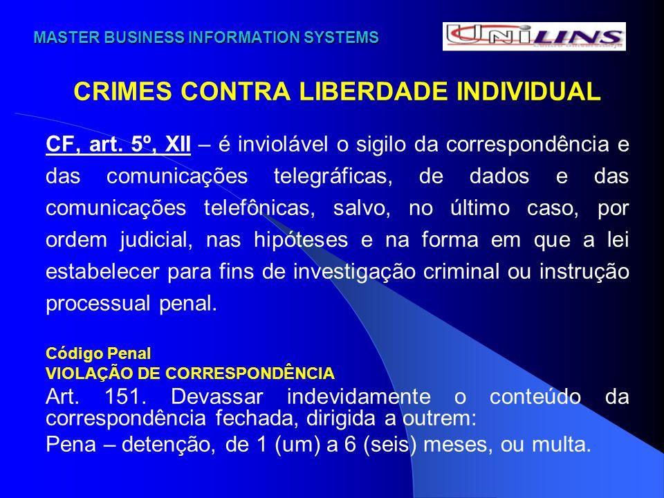 MASTER BUSINESS INFORMATION SYSTEMS MASTER BUSINESS INFORMATION SYSTEMS CRIMES CONTRA LIBERDADE INDIVIDUAL VIOLAÇÃO DE COMUNICAÇÃO TELEGRÁFICA, RADIOELÉTRICA OU TELEFÔNICA Código Penal Art.