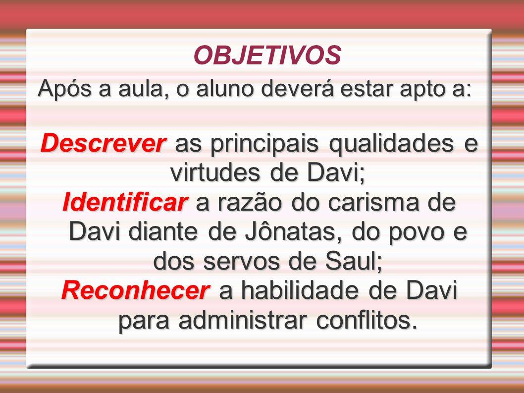 OBJETIVOS Após a aula, o aluno deverá estar apto a: Descrever as principais qualidades e virtudes de Davi; Identificar a razão do carisma de Davi dian