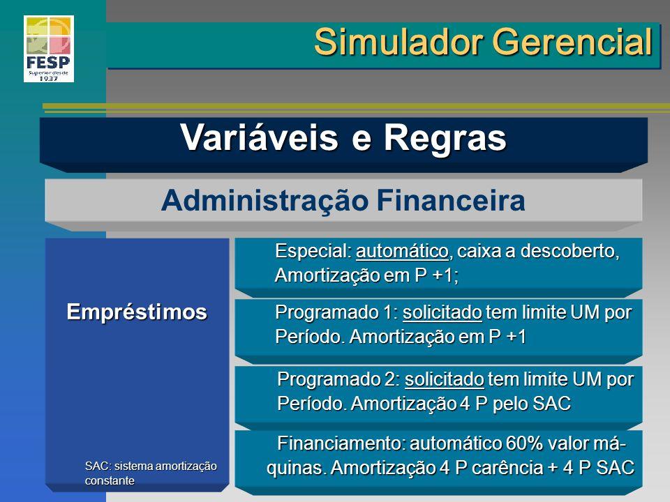 Empréstimos Administração Financeira Especial: automático, caixa a descoberto, Amortização em P +1; Programado 1: solicitado tem limite UM por Período