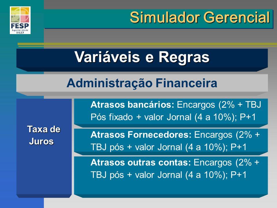 Taxa de Juros Juros Administração Financeira Atrasos bancários: Encargos (2% + TBJ Pós fixado + valor Jornal (4 a 10%); P+1 Atrasos Fornecedores: Enca
