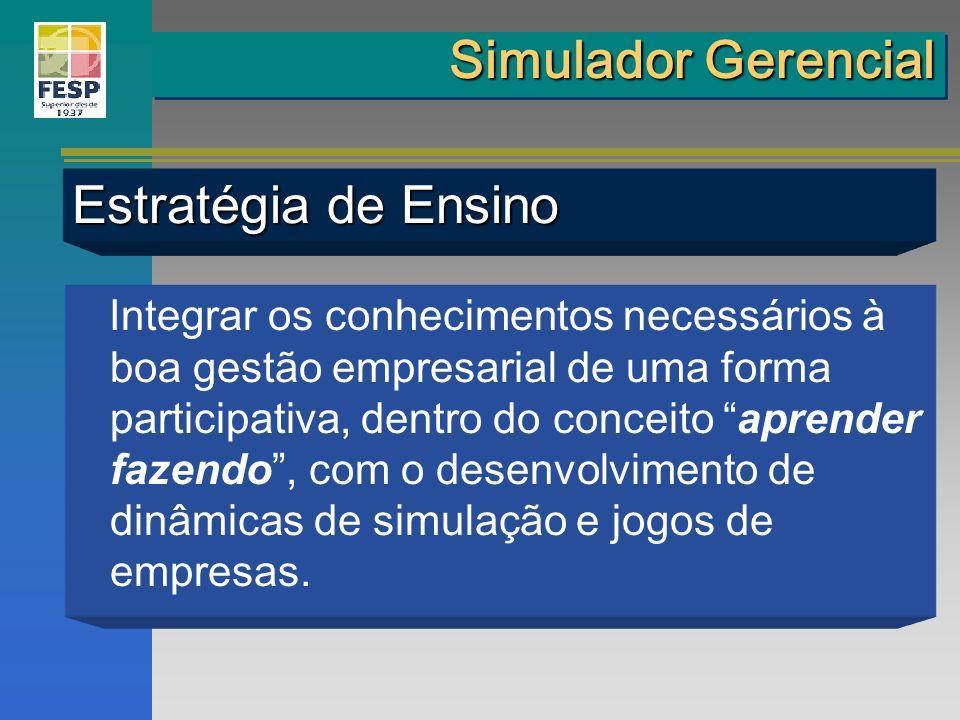 Simulador Gerencial Estratégia de Ensino Integrar os conhecimentos necessários à boa gestão empresarial de uma forma participativa, dentro do conceito