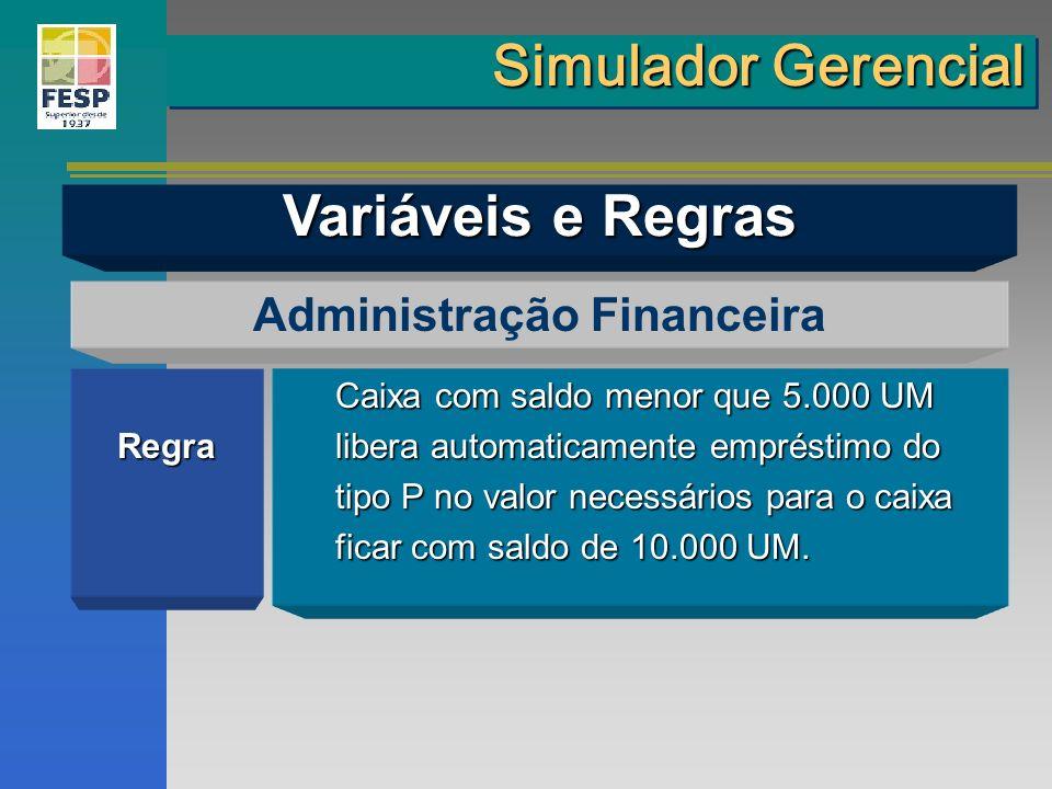 Regra Administração Financeira Caixa com saldo menor que 5.000 UM libera automaticamente empréstimo do tipo P no valor necessários para o caixa ficar