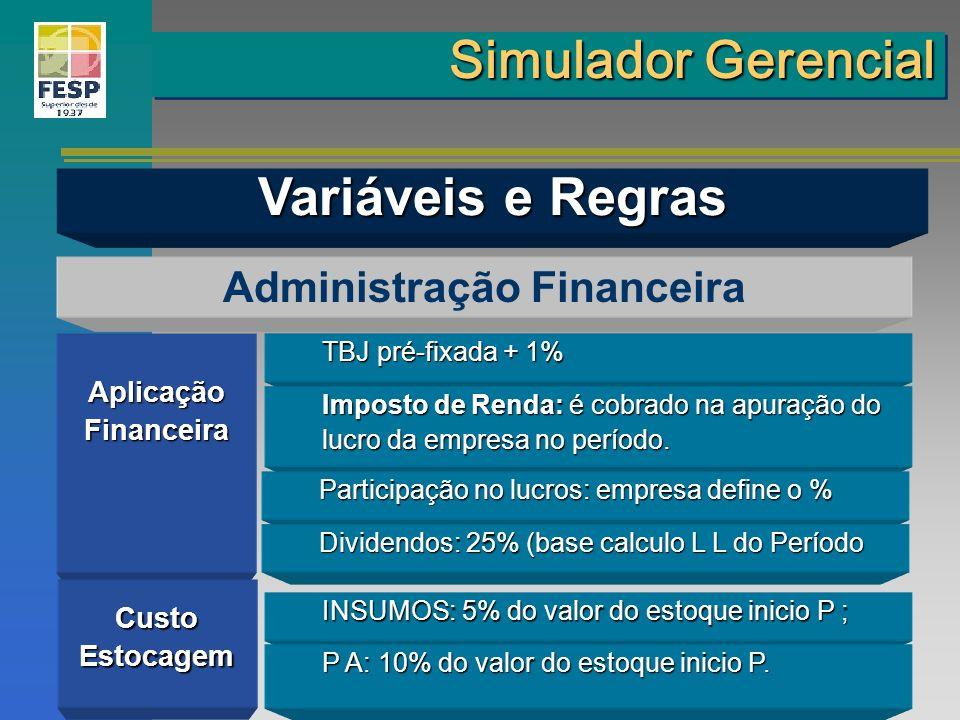 AplicaçãoFinanceira Administração Financeira CustoEstocagem TBJ pré-fixada + 1% Imposto de Renda: é cobrado na apuração do lucro da empresa no período