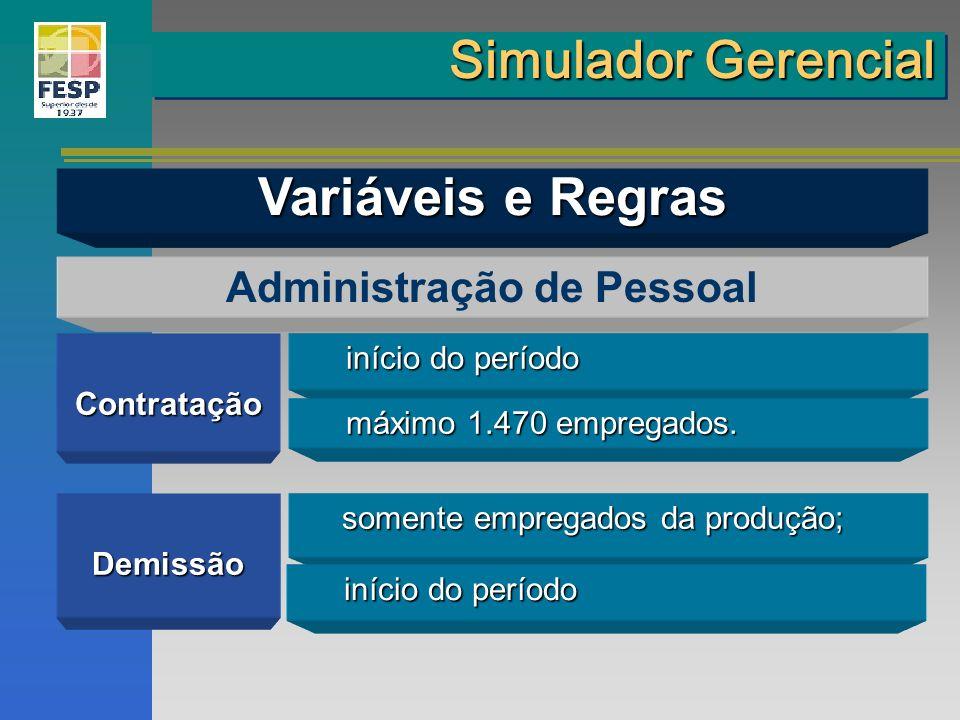 Contratação Administração de Pessoal Demissão início do período máximo 1.470 empregados. somente empregados da produção; somente empregados da produçã