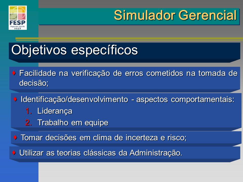 Simulador Gerencial Objetivos específicos Facilidade na verificação de erros cometidos na tomada de decisão; Facilidade na verificação de erros cometi