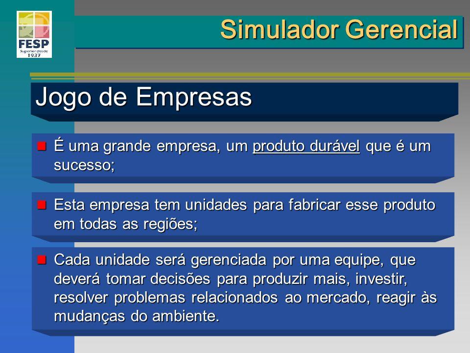 Simulador Gerencial Jogo de Empresas É uma grande empresa, um produto durável que é um sucesso; É uma grande empresa, um produto durável que é um suce