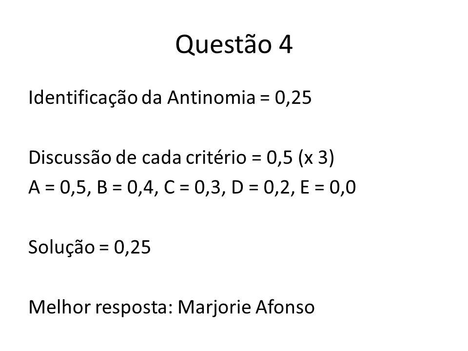 Questão 4 Identificação da Antinomia = 0,25 Discussão de cada critério = 0,5 (x 3) A = 0,5, B = 0,4, C = 0,3, D = 0,2, E = 0,0 Solução = 0,25 Melhor r