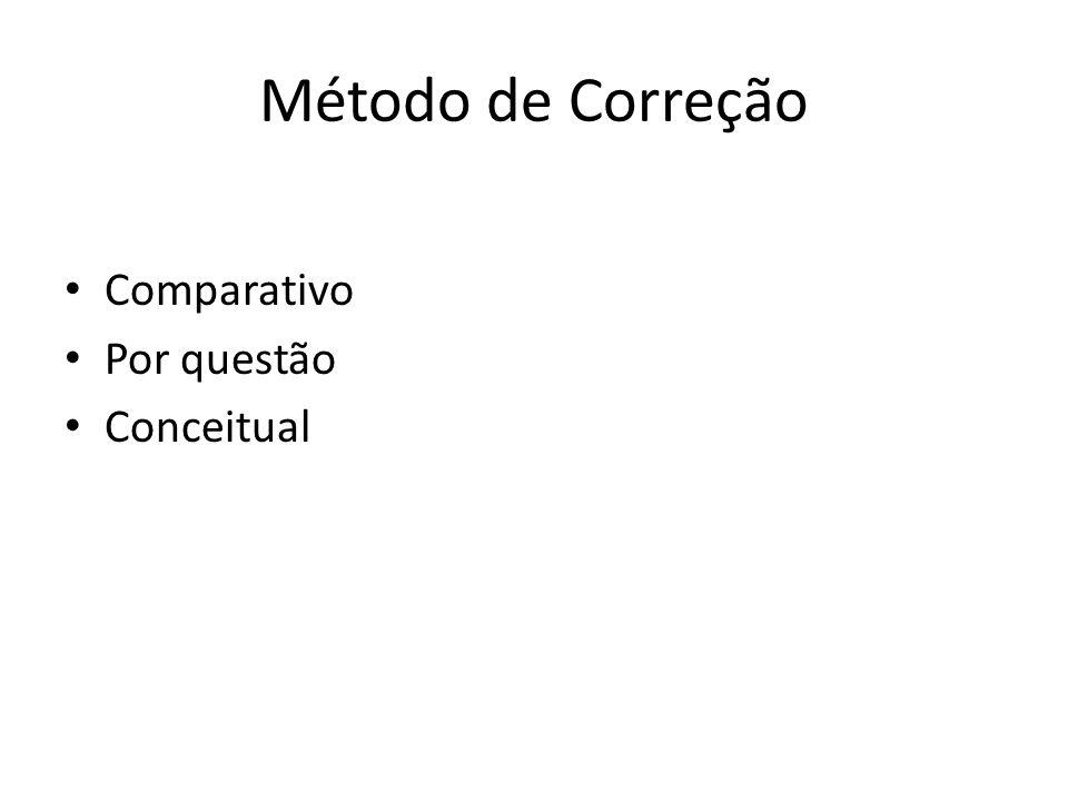 Método de Correção Na correção de cada questão, as provas são agrupadas em ordem conceitual: A = Precisão conceitual, clareza argumentativa e abordagem direta do problema B = Alguma imprecisão conceitual, alguma falta de clareza argumentativa ou algum desvio na abordagem do problema C = Imprecisão conceitual, falta de clareza argumentativa ou desvio na abordagem do problema, mas indicação correta da idéia geral D = Ponto de misericórdia E = Abordagem completamente equivocada