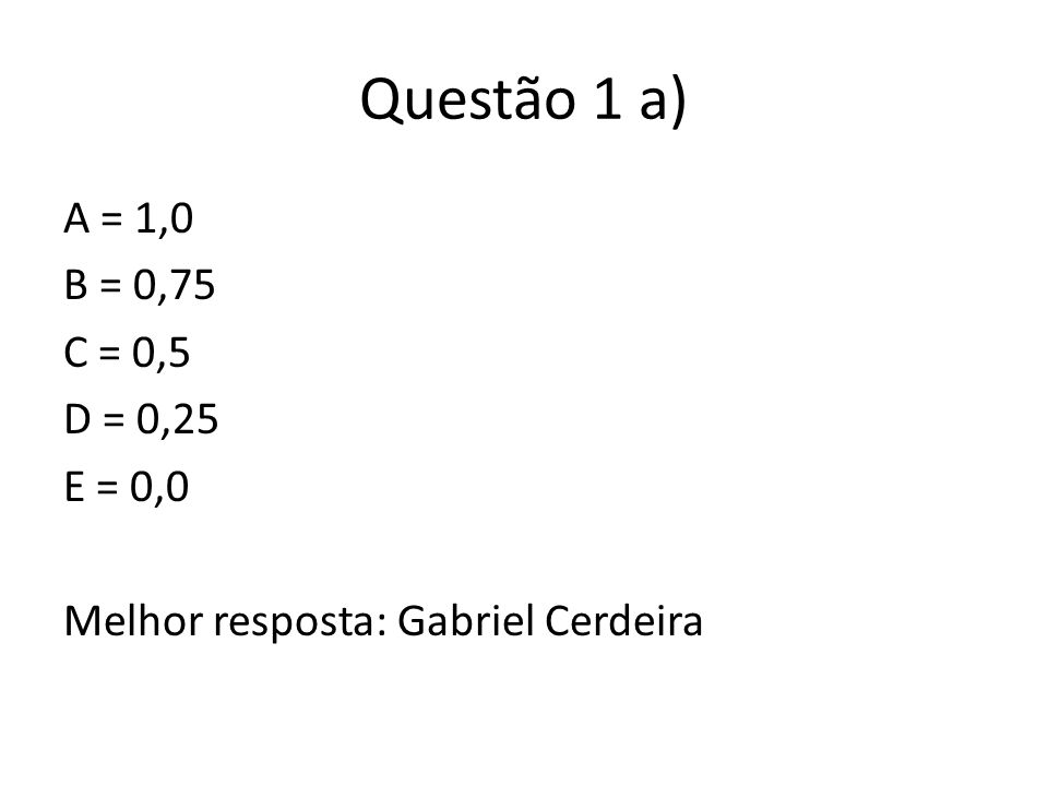Questão 1 b) 1 Definidora de Direito + Explicação do Conceito = 0,5 Outra classificação + Explicação do Conceito + Alto ônus argumentativo = 0,5 Mostrar que sabe a classificação + Algum equívoco na aplicação = 0,2 (ponto de misericórdia) Melhor resposta: Guilherme Migliora
