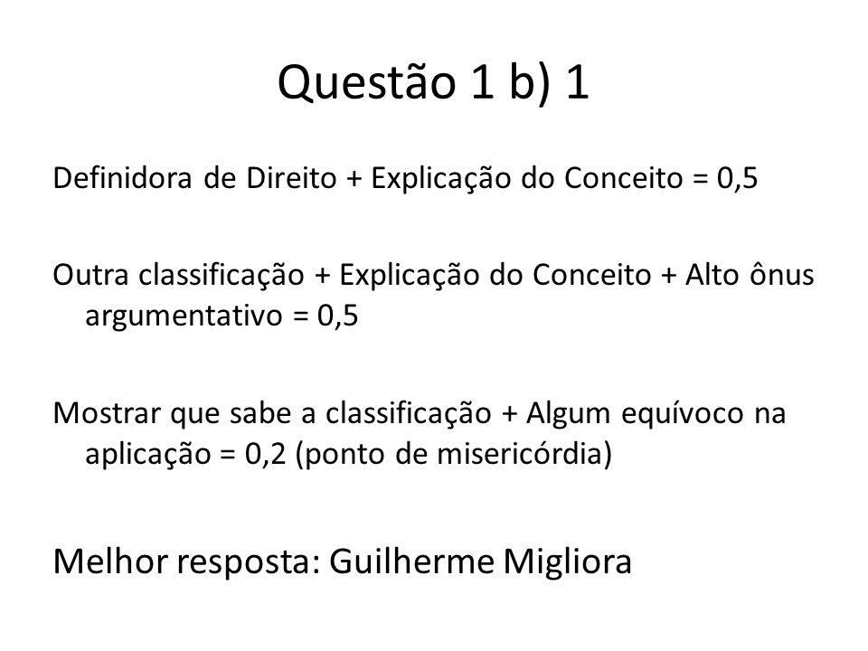 Questão 1 b) 1 Definidora de Direito + Explicação do Conceito = 0,5 Outra classificação + Explicação do Conceito + Alto ônus argumentativo = 0,5 Mostr
