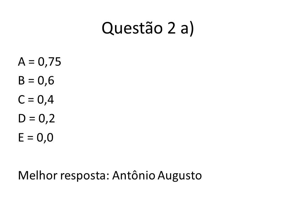 Questão 2 a) A = 0,75 B = 0,6 C = 0,4 D = 0,2 E = 0,0 Melhor resposta: Antônio Augusto