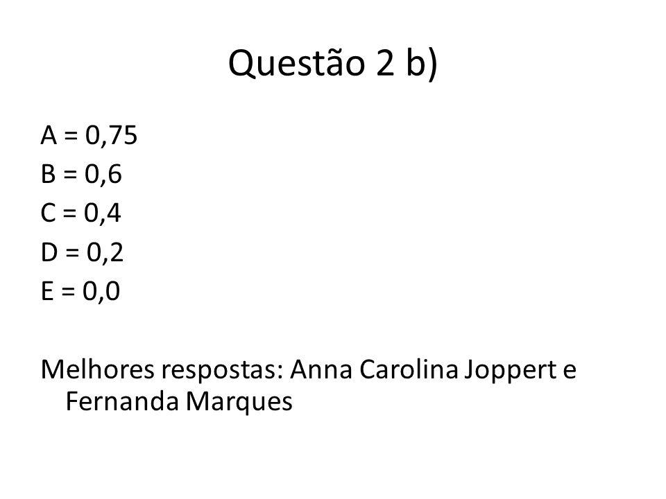 Questão 2 b) A = 0,75 B = 0,6 C = 0,4 D = 0,2 E = 0,0 Melhores respostas: Anna Carolina Joppert e Fernanda Marques