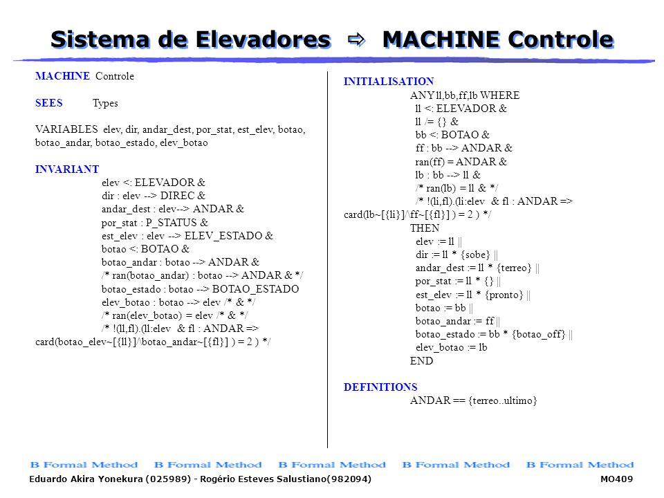 Eduardo Akira Yonekura (025989) - Rogério Esteves Salustiano(982094) MO409 Sistema de Elevadores MACHINE Controle MACHINE Controle SEES Types VARIABLE