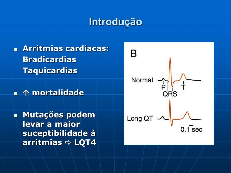 Introdução Arritmias cardíacas: Arritmias cardíacas:BradicardiasTaquicardias mortalidade mortalidade Mutações podem levar a maior suceptibilidade à ar