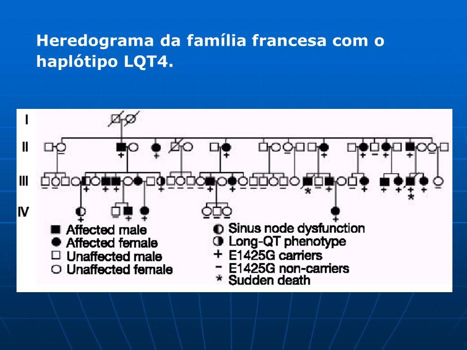 Heredograma da família francesa com o haplótipo LQT4.