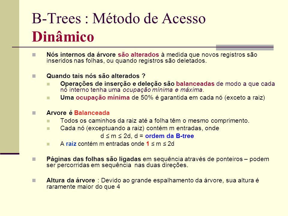B-Trees : Método de Acesso Dinâmico Nós internos da árvore são alterados à medida que novos registros são inseridos nas folhas, ou quando registros sã