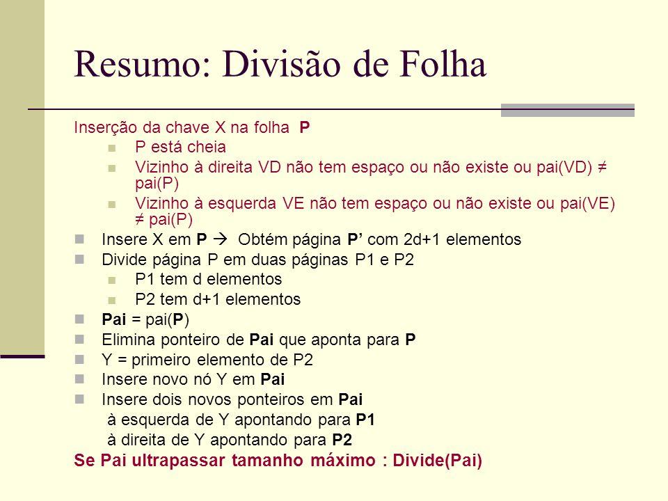 Resumo: Divisão de Folha Inserção da chave X na folha P P está cheia Vizinho à direita VD não tem espaço ou não existe ou pai(VD) pai(P) Vizinho à esq