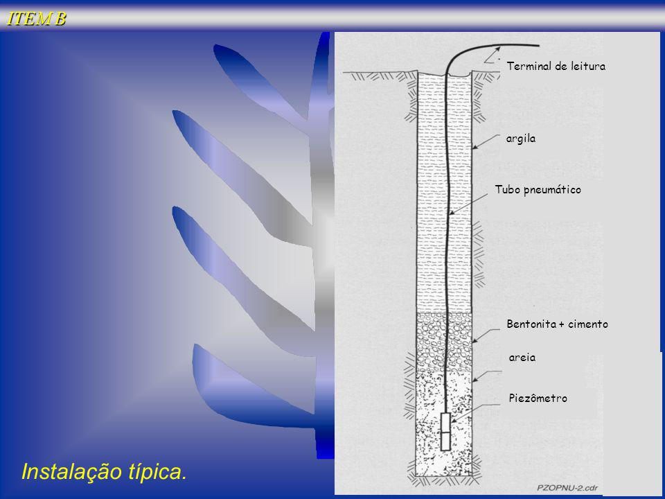 Bentonita + cimento argila areia Tubo pneumático Piezômetro Terminal de leitura Instalação típica. ITEM B