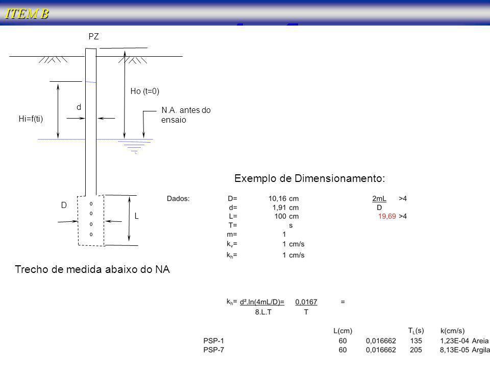 Ho (t=0) D L N.A. antes do ensaio PZ Exemplo de Dimensionamento: Trecho de medida abaixo do NA d Hi=f(ti)