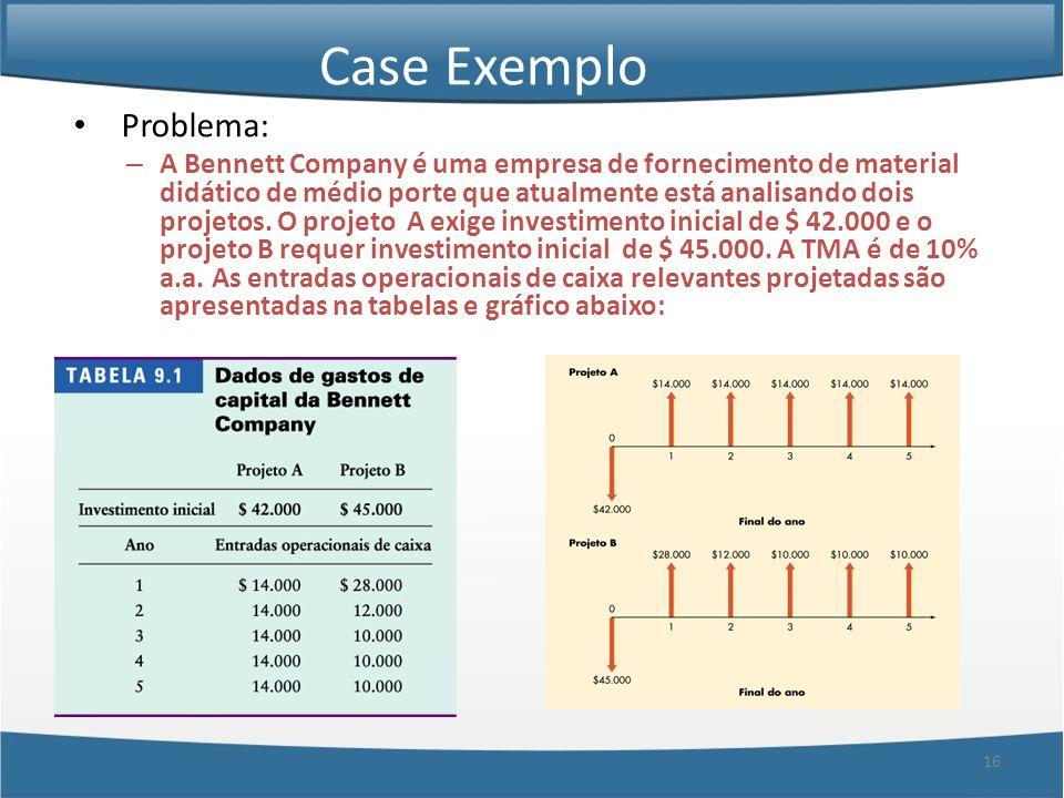 16 Case Exemplo Problema: – A Bennett Company é uma empresa de fornecimento de material didático de médio porte que atualmente está analisando dois pr