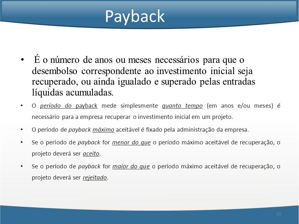 20 Payback É o número de anos ou meses necessários para que o desembolso correspondente ao investimento inicial seja recuperado, ou ainda igualado e s