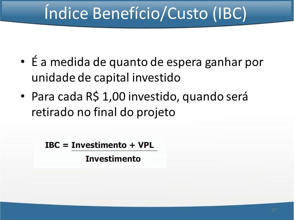 27 Índice Benefício/Custo (IBC) É a medida de quanto de espera ganhar por unidade de capital investido Para cada R$ 1,00 investido, quando será retira