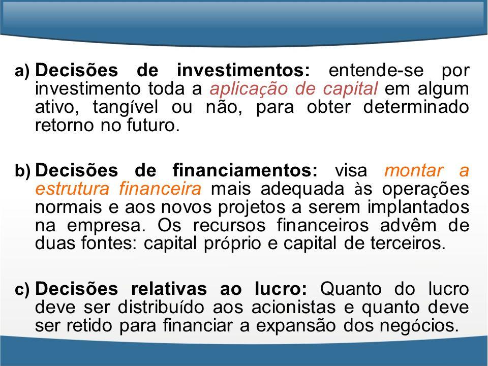 a) Decisões de investimentos: entende-se por investimento toda a aplica ç ão de capital em algum ativo, tang í vel ou não, para obter determinado reto
