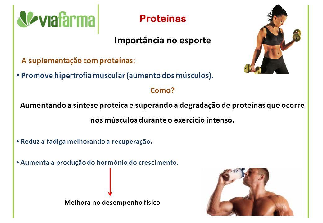 Proteínas Importância no esporte A suplementação com proteínas: Promove hipertrofia muscular (aumento dos músculos). Como? Aumentando a síntese protei