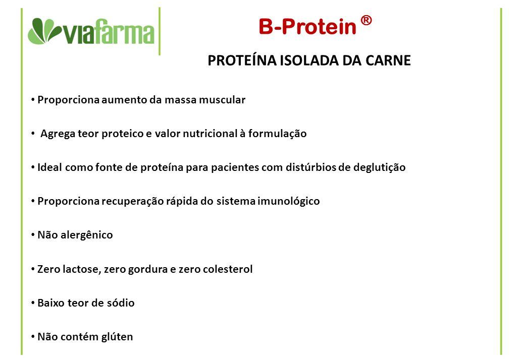 B-Protein ® PROTEÍNA ISOLADA DA CARNE Indicado em formulações como: Misturas vitaminadas Shakes dietéticos Complementação de dietas deficientes em proteínas Sopas, caldos e outros produtos alimentícios Preparação de dietas líquidas homogêneas para indivíduos com dificuldade de mastigar Suplementos nutricionais e barras de cereais Dosagem: pode ser calculada de acordo com a necessidade diária de proteínas: Indivíduos sedentários: 0,8 a 1,0 g/Kg do peso corporal ao dia Pessoas envolvidas em treinos de resistência: 1,2 a 1,4 g/Kg do peso corporal ao dia Atletas de força: 1,6 a 1,7 g/Kg do peso corporal ao dia