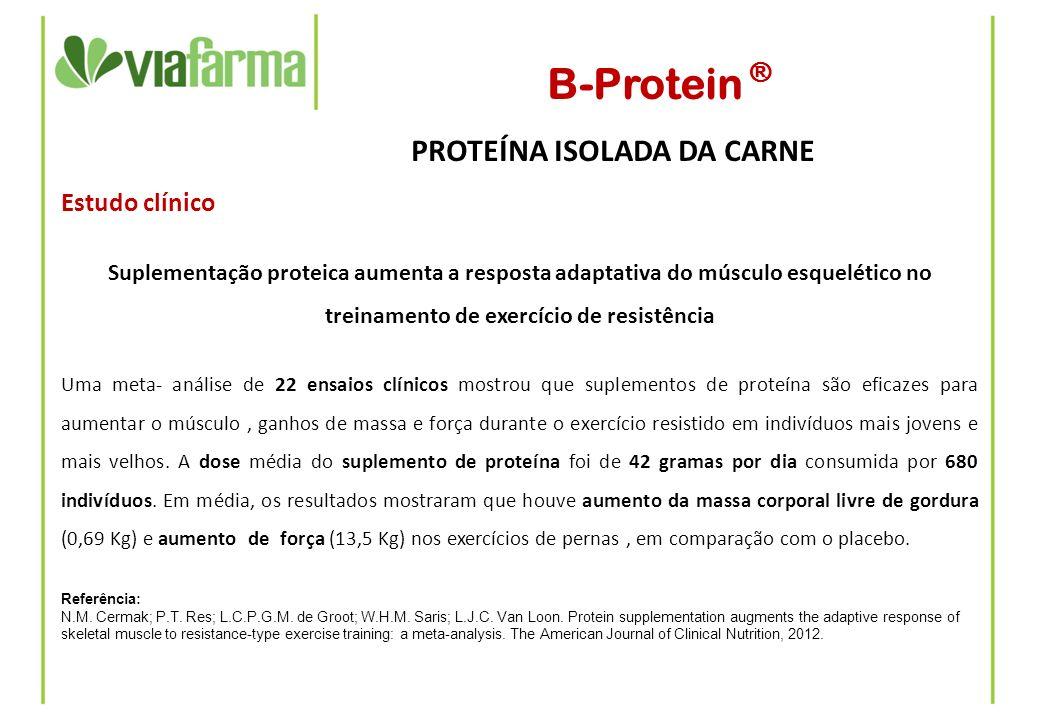 B-Protein ® PROTEÍNA ISOLADA DA CARNE Estudo clínico Suplementação proteica aumenta a resposta adaptativa do músculo esquelético no treinamento de exe