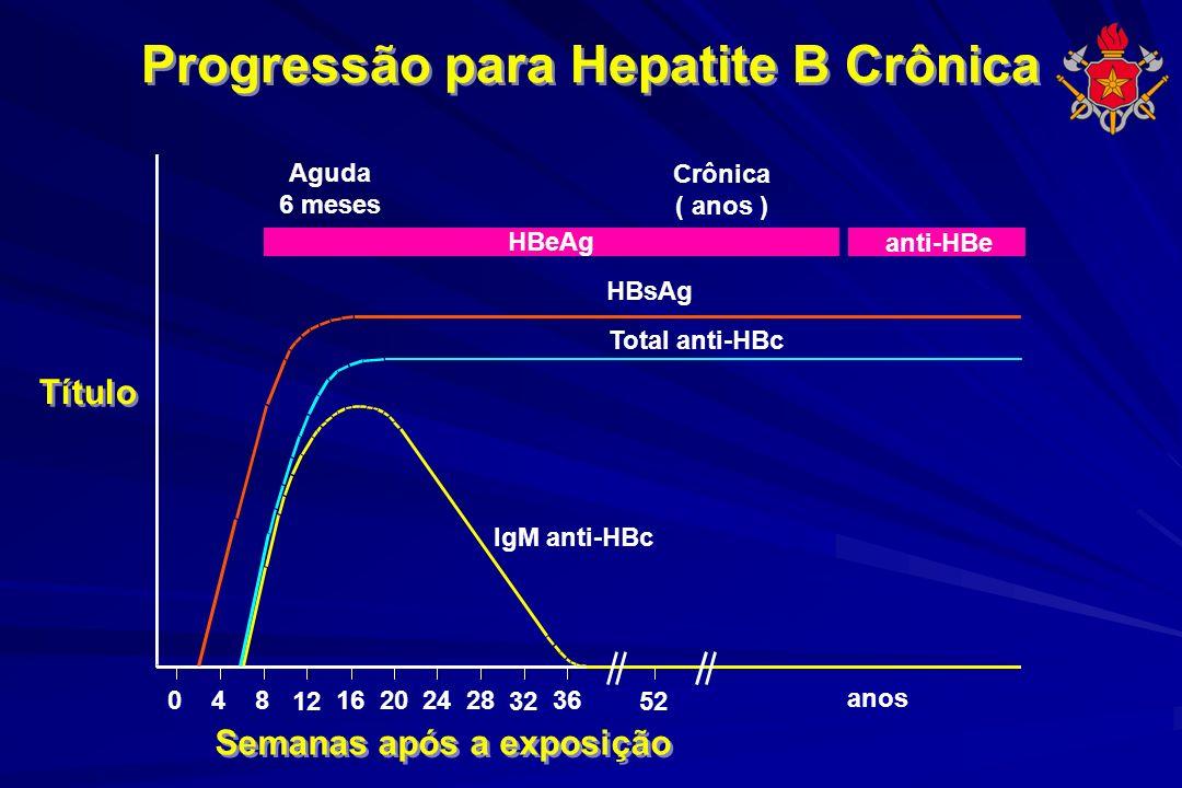 Progressão para Hepatite B Crônica Semanas após a exposição Título IgM anti-HBc Total anti-HBc HBsAg Aguda 6 meses HBeAg Crônica ( anos ) anti-HBe 048