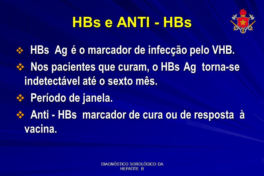 DIAGNÓSTICO SOROLÓGICO DA HEPATITE B HBs e ANTI - HBs HBs Ag é o marcador de infecção pelo VHB. HBs Ag é o marcador de infecção pelo VHB. Nos paciente