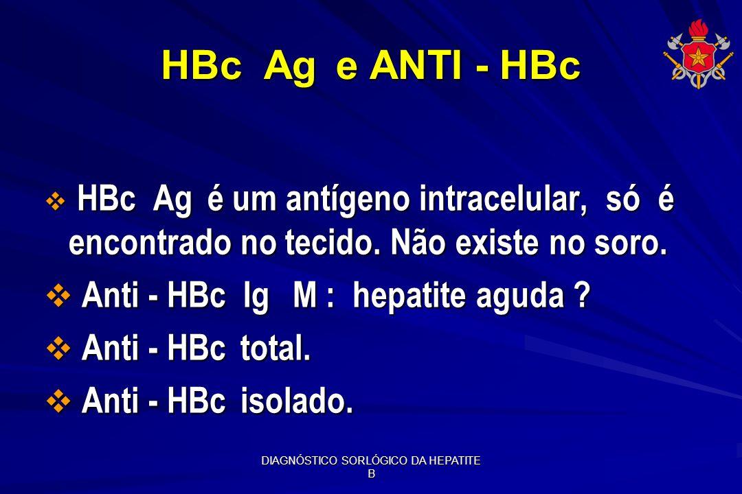DIAGNÓSTICO SORLÓGICO DA HEPATITE B HBc Ag e ANTI - HBc HBc Ag é um antígeno intracelular, só é encontrado no tecido. Não existe no soro. HBc Ag é um