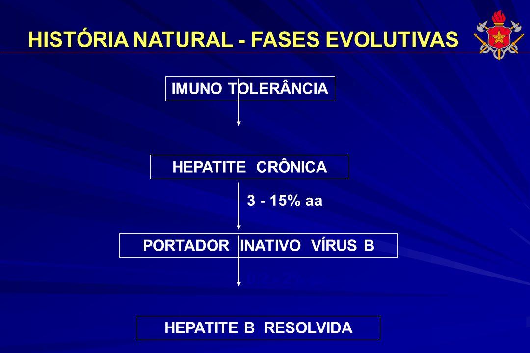 HISTÓRIA NATURAL - FASES EVOLUTIVAS HISTÓRIA NATURAL - FASES EVOLUTIVAS IMUNO TOLERÂNCIA HEPATITE CRÔNICA PORTADOR INATIVO VÍRUS B HEPATITE B RESOLVID