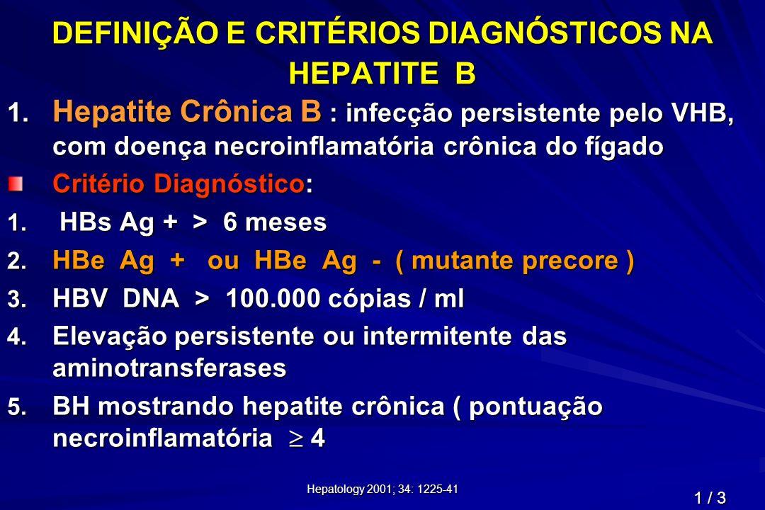 Hepatology 2001; 34: 1225-41 DEFINIÇÃO E CRITÉRIOS DIAGNÓSTICOS NA HEPATITE B 1. Hepatite Crônica B : infecção persistente pelo VHB, com doença necroi