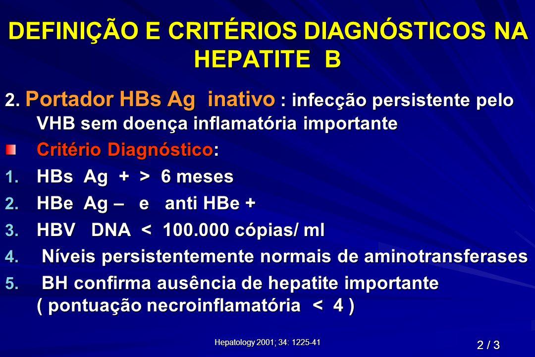 Hepatology 2001; 34: 1225-41 DEFINIÇÃO E CRITÉRIOS DIAGNÓSTICOS NA HEPATITE B 2. Portador HBs Ag inativo : infecção persistente pelo VHB sem doença in