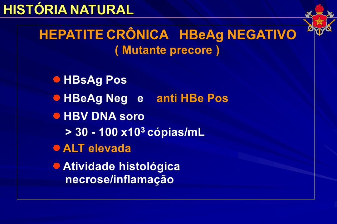 HISTÓRIA NATURAL HEPATITE CRÔNICA HBeAg NEGATIVO ( Mutante precore ) HBsAg Pos HBeAg Neg e anti HBe Pos HBV DNA soro > 30 - 100 x10 3 cópias/mL ALT el