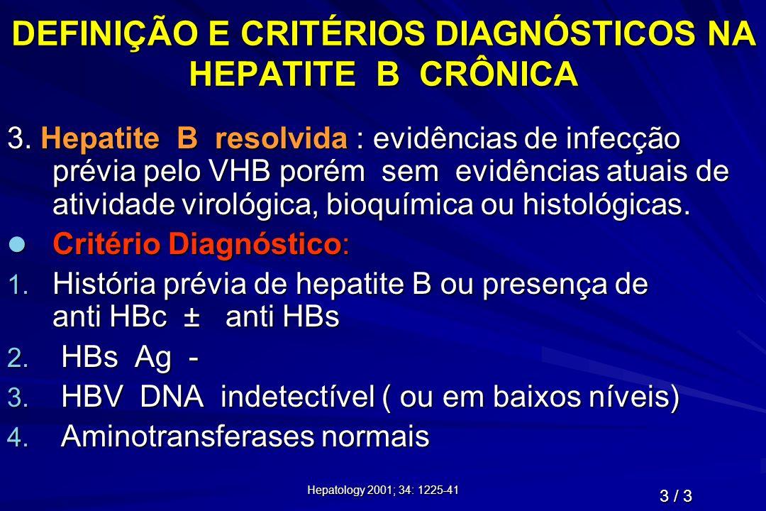 Hepatology 2001; 34: 1225-41 DEFINIÇÃO E CRITÉRIOS DIAGNÓSTICOS NA HEPATITE B CRÔNICA 3. Hepatite B resolvida : evidências de infecção prévia pelo VHB