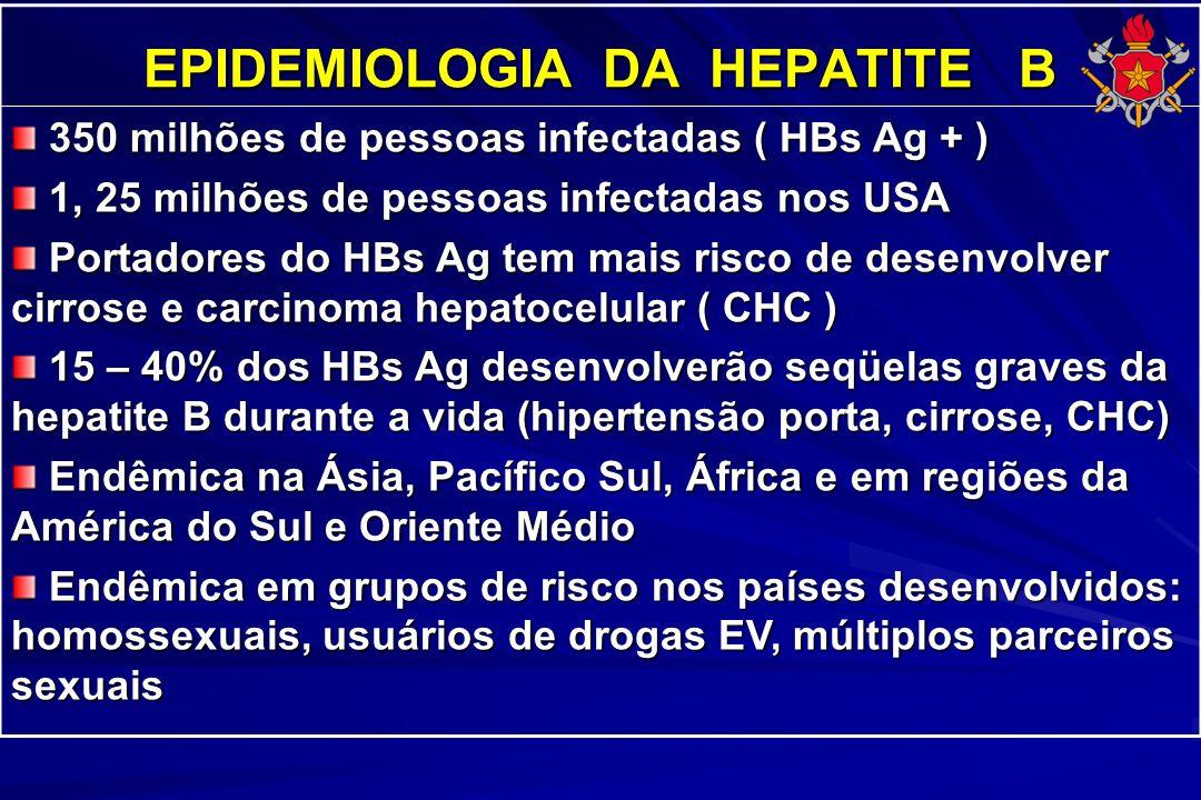 EPIDEMIOLOGIA DA HEPATITE B 350 milhões de pessoas infectadas ( HBs Ag + ) 350 milhões de pessoas infectadas ( HBs Ag + ) 1, 25 milhões de pessoas inf