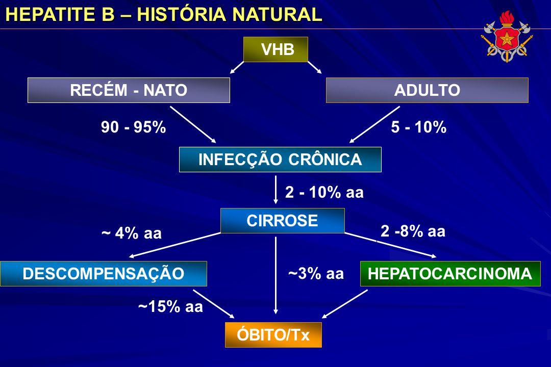 HEPATITE B – HISTÓRIA NATURAL INFECÇÃO CRÔNICA CIRROSE DESCOMPENSAÇÃO ÓBITO/Tx HEPATOCARCINOMA 2 - 10% aa ~ 4% aa ~3% aa 2 -8% aa ~15% aa RECÉM - NATO