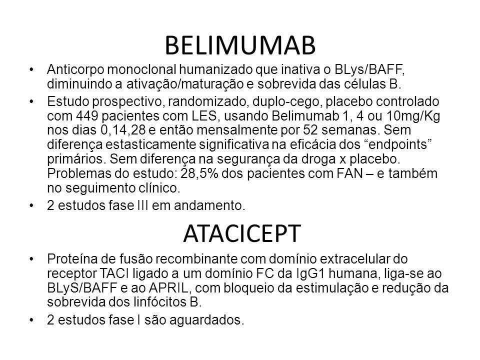 BELIMUMAB Anticorpo monoclonal humanizado que inativa o BLys/BAFF, diminuindo a ativação/maturação e sobrevida das células B. Estudo prospectivo, rand