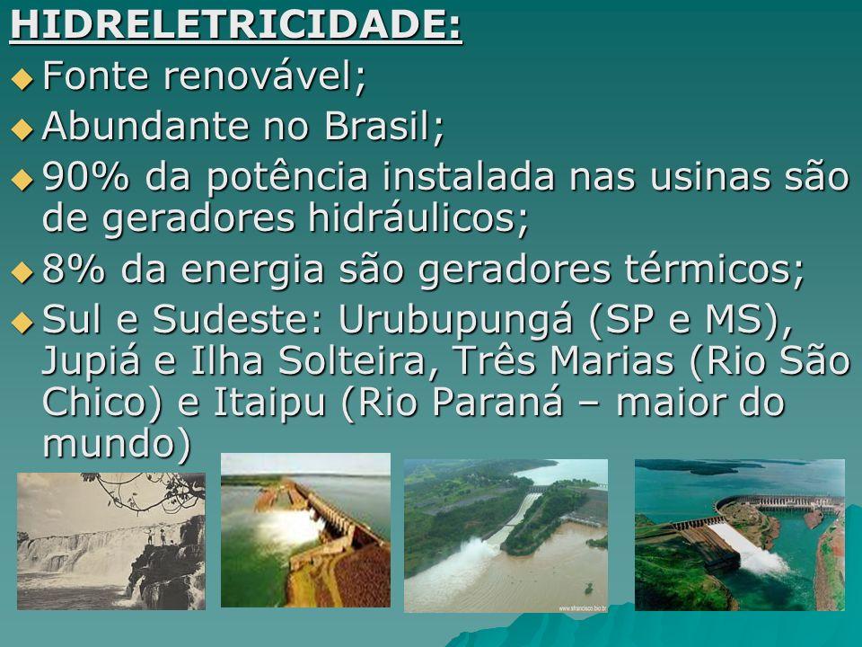 Outras fontes: ENERGIA NUCLEAR: Programa Nuclear Brasileiro (1960): energia atômica, Angra I começa a operar em 1984; Programa Nuclear Brasileiro (1960): energia atômica, Angra I começa a operar em 1984;ÁLCOOL: Cana, batata e cevada; Valorização como combustível alternativo; 1970: Programa Nacional do Álcool (Próalcool); Exige gdes extensões de terras.