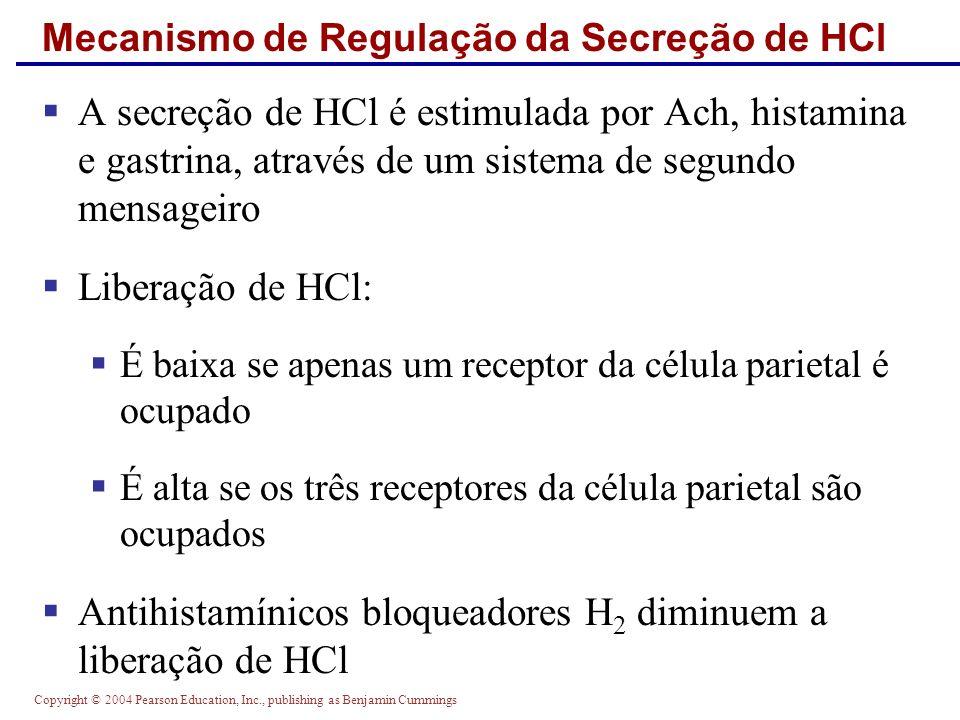 Copyright © 2004 Pearson Education, Inc., publishing as Benjamin Cummings Mecanismo de Regulação da Secreção de HCl A secreção de HCl é estimulada por