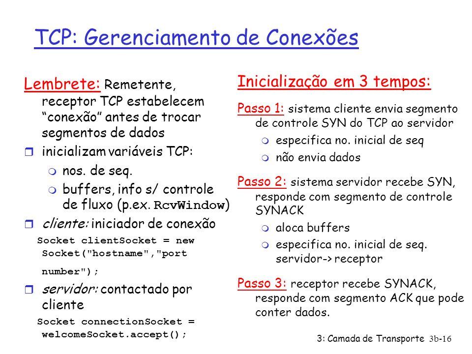 3: Camada de Transporte3b-16 TCP: Gerenciamento de Conexões Lembrete: Remetente, receptor TCP estabelecem conexão antes de trocar segmentos de dados r