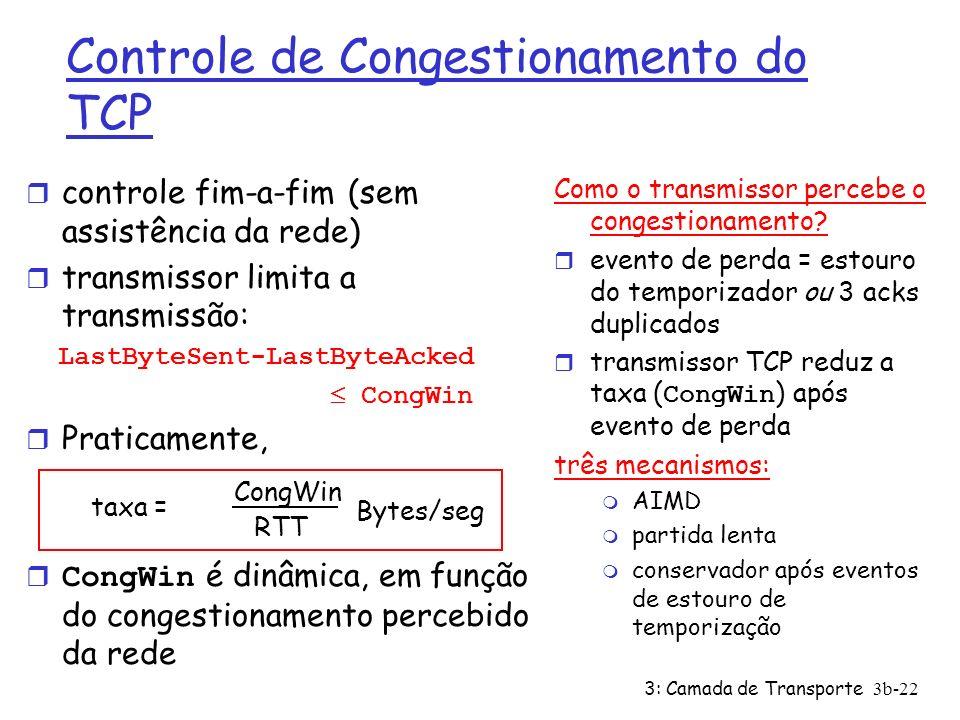 3: Camada de Transporte3b-22 Controle de Congestionamento do TCP r controle fim-a-fim (sem assistência da rede) r transmissor limita a transmissão: La