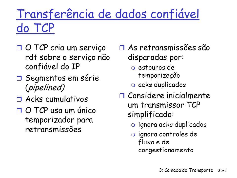 3: Camada de Transporte3b-29 Controle de congestionamento do transmissor TCP EventoEstadoAção do Transmissor TCPComentário ACK recebido para dados ainda não reconhecidos Partida lenta CongWin = CongWin + MSS, If (CongWin > Limiar) seta estado para Evitar congestionamento Resulta na duplicação da CongWin a cada RTT ACK recebido para dados ainda não reconhecidos Evitar congestion amento CongWin = CongWin+MSS * (MSS/CongWin) Incremento aditivo, resultando no incremento da CongWin de 1 MSS a cada RTT Perda detectada por ACKs triplicados qualquerLimiar = CongWin/2, CongWin = Limiar, Seta estado para Evitar Congestionamento Recuperação rápida, implementa decrescimento multiplicativo.