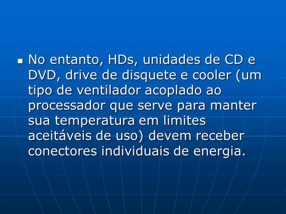 No entanto, HDs, unidades de CD e DVD, drive de disquete e cooler (um tipo de ventilador acoplado ao processador que serve para manter sua temperatura