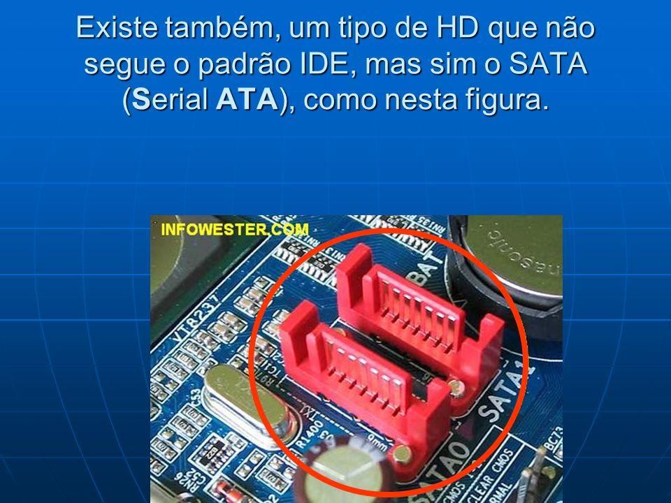 Existe também, um tipo de HD que não segue o padrão IDE, mas sim o SATA (Serial ATA), como nesta figura.