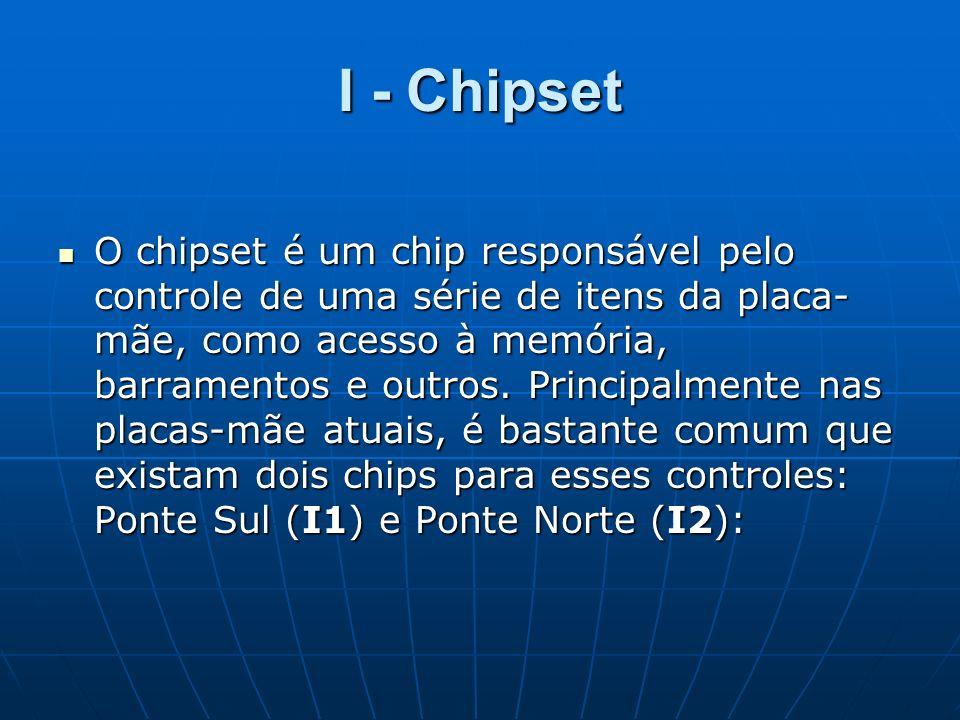I - Chipset O chipset é um chip responsável pelo controle de uma série de itens da placa- mãe, como acesso à memória, barramentos e outros. Principalm