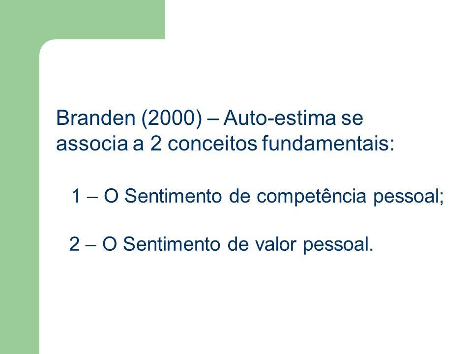 Branden (2000) – Auto-estima se associa a 2 conceitos fundamentais: 1 – O Sentimento de competência pessoal; 2 – O Sentimento de valor pessoal.